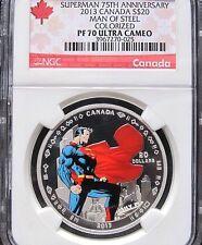 2013 SUPERMAN MAN OF STEEL SILVER COIN $20 PF70 UC 75th ANNV DC COMICS SUPERHERO