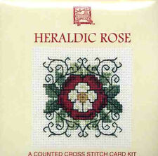 Textile Heritage Heraldic Rose Tudor Medieval Miniature Card Cross Stitch Kit