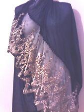 WEDDING GOLD  LACE SCARF NAVY SHAWL GIFT SHAWL NIGHT PARTY CAPE  PASHMINA STOLE