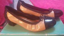 Clarkes Camel & Black Patent Court Shoes - Size 7