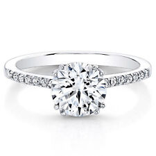 0.63 Ct Round Cut Diamond Engagement Ring 14K Real White Gold Rings Size J K L