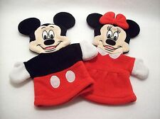 Set of 2 Disney Store Minnie Mouse And Mickey Mouse Cloth Hand Puppets 9.5""