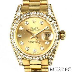 Rolex Datejust Ladies 26mm ref 179158 18K Gold & Diamond case. Papers Year 2007