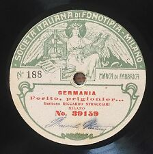 """RARE 78RPM 11"""" FONOTIPIA BARITONO RICCARDO STRACCIARI GERMANIA / AIDA QUEST'ASSI"""