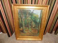 Antique Tempera Painting by Robert Rouse, Woodlands, Listed English Artist