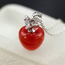 Xmas Gift 925 Silver Opal Cat Eye Gemstone Necklace Red Apple Pendant