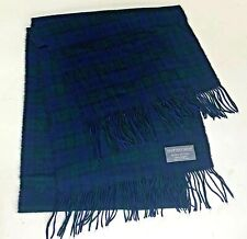 Geoffrey Beene Mens Scarf Plaid Green Blue Check Acrylic Winter Made in Italy
