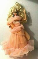 Vintage 1966 China Blonde Barbie with Peach Chiffon Gown with Blue Earrings B37
