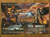 MechWarrior 3 PC 1999 Vintage Print Ad/Poster Official Big Box Promo Art Rare