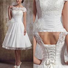 2018 Weiß Spitze Flügelärmel Knielang Brautjungferkleider Abendkleider Kleider