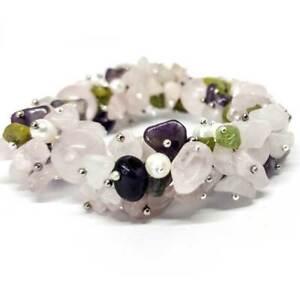 Bracelet, Assorted Luxury, Rose Quartz, Amethyst, Pearls and Peridot, handmade