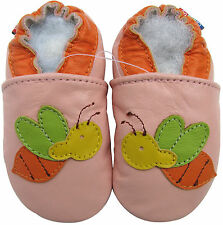 soft sole leather baby shoes bee pink 3-4t
