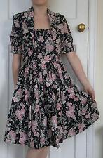 Laura Ashley Black Pink Skater Prom Corset Dress Blazer Suit 50/80's size 10 12