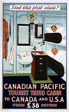 1920 Canadian Pacific Tourist 3rd Cabin first Class Poster 11 x 17 Giclee print