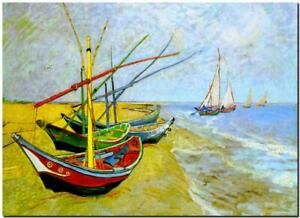 "Vincent Van Gogh CANVAS ART PRINT Fishing boats on the Beach 32""X 24"""