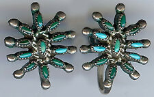 ELEGANT VINTAGE ZUNI INDIAN SILVER PETIT POINT TURQUOISE SCREW ON EARRINGS