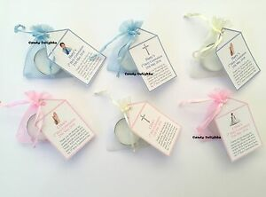 20 x 1st Holy Communion DIY Organza bag, Candle & Personalised Tag Favours