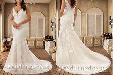 New White/Ivory Mermaid V-Neck Lace Bridal Gown Wedding Dress Custom Plus Size
