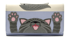 MALA Leather Cat Purse Blue Ladies Matinee Cash Card Holder Wallet Purses RFID