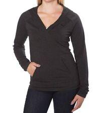 NEW PUMA Women's Athletic Hooded Sweatshirt Pullover V-Neck Tee D/Gray Heather S
