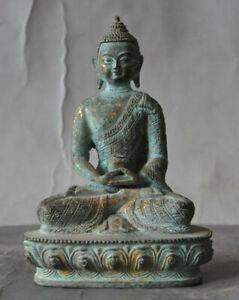 Tibet Buddhism Temple Old Patina Bronze Sakyamuni Amitabha Buddha Statue Wealth
