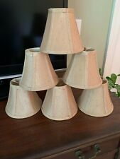 Chandelier Lamp Shades Set of 6 Small Cloth Clip On Beige Tan Fabric