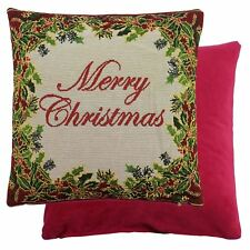 "LUXURY THICK MERRY CHRISTMAS COTTON TAPESTRY RED GREEN CUSHION COVER 18"" - 45CM"