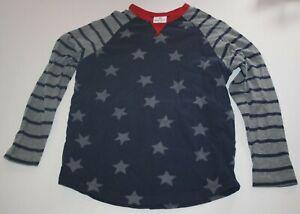 Used Hanna Andersson Boys 160 14 year Top Raglan Long Sleeves Navy Blue Stars