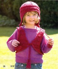 ~ Baby Knitting Pattern For Cosy Jumper, Waistcoat & Hat ~
