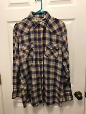 Vintage Roebucks Western Flannel With Blue Pearl Snaps Size L