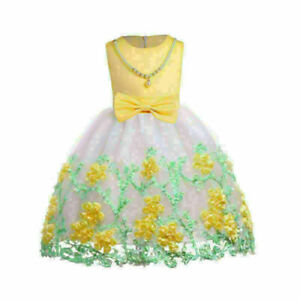 Flower Girl Princess Gown Baby Kids Party Bridesmaid Formal Tutu Dress Gowns