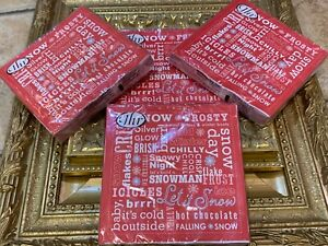 IHR LOT 4 20-PACK 80 CT L LUNCHEON DINNER NAPKINS LET IT SNOW MIX RED XMAS NEW