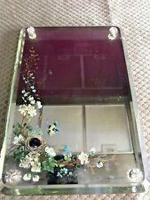 Victorian/Antique Frameless Bevelled Mirror -Bird With Nest - A Stunning Mirror