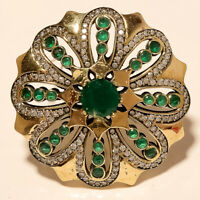 Natural Zambian Emerald Brooch 925 Sterling Silver Two Tone Women Fine Jewelry