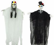 2 PACK Hanging Bride & Groom Skeleton Halloween Decoration Day of the Dead Prop