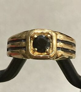 14K HGE Yellow Gold Men's Ring with Black Stone Size 12