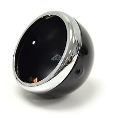 "Lucas-Style Headlamp Headlight Shell Rim Chrome Black 5-3/4"" Side Mount"