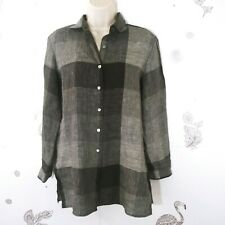 Liz Claiborne Size 4 Plaid Long Sleeve Button Down Shirt 100% Linen H-48