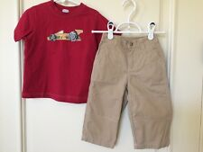 Gymboree Boys Size 18 24 Months Shirt Pants LOT Khaki Race Car Start Your Engine