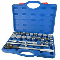 "26pc 3/4"" Dr Socket Set Metric Imperial AF SAE Ratchet Wrench 12 Point TE806"