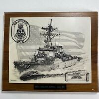 Vintage USS Mitscher DDG 57 Etched Plaque U.S. Navy Rear Admiral Commissioned 94