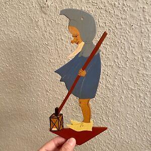 Märchen-Holzbild ALT 1940er 25cm Eifelkunst Nachtwächter Zwerg Nachtwache RAR
