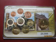 Germany 2002 - 2010 8 Euro Coin Collection Set + Berlin Medal cased with COA