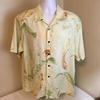 Tommy Bahama Mens Shirt Pastel Green Floral Button Front 100% Linen Large FS!