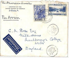 R209 1930s Greece AMERICAN LEGATION Censor Airmail 7d PEGASUS Cover HORSES