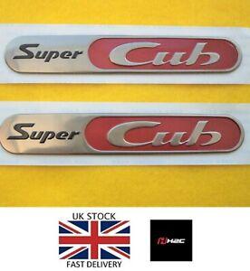 GENUINE H2C HONDA SUPER CUB FAIRING STICKER BADGE SILVER / RED
