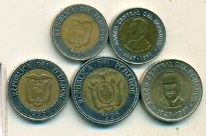 5 DIFFERENT BI-METAL COINS from ECUADOR (5 TYPES and 3 DENOMINATIONS)