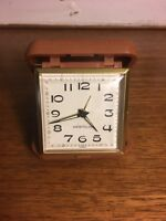 Vintage Travel Alarm Clock Westclox Clamshell Brown Case For Repair or Parts