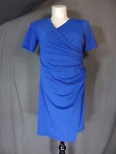 Adrianna Papell V-neck Size 12Petite 3/4 Sleeveless Stretch Dress blue