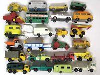 24 Vintage 1960s LESNEY Matchbox Black/Gray Wheel Truck Car Trailer Vehicle LOT!